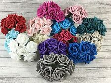 7 / 8cm Foam Rose Flowers x 36 Flower Heads 6 Bunches Colourfast Artificial
