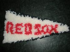 """Boston Red Sox 14""""   yarn PENNANT Banner  red, white & blue  hand made"""