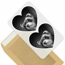 2 x Heart Stickers 7.5 cm - Bw - Ferret Hammock Pet Rodent Animal #37246