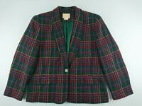 Vintage Pendleton Women Sz 12 Multi Color Blazer Lined Wool One Button Career W2