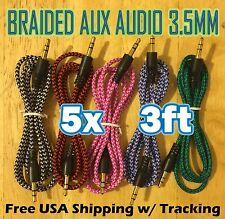5x Pcs LOT 3.5mm 3ft BRAIDED 1M AUXILIARY CORD Male to Male Audio Cable AUX MIX