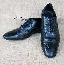 Uptown PS  PAUL SMITH Cap Toe Black Leather Lace Up Rubber Sole Shoe SZ 42 Italy