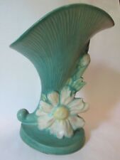 CORNUCOPIA VASE! Vintage ROSEVILLE ART pottery: original GREEN PEONY pattern EXC