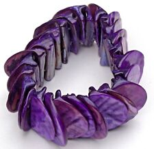 Purple Iridescent Rounded Mother of Pearl Stretch Bracelet - great condition!