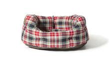 Danish Design Deluxe Slumber Bed Lumberjack Red / Grey Dog Bed 45cm