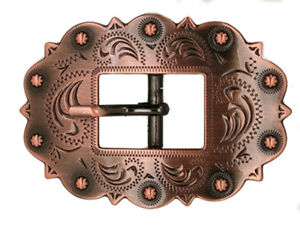Western Cowboy/Cowgirl Rodeo Decor Engraved Antique Copper Cart Buckle 1""