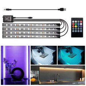 Universal USB Remote 48 RGB LED Ambient Light Strip Home Car Interior Decor Lamp