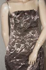 Glanz Satin Kleid * Etuikleid gold - bronze Rosen sehr chic S