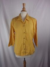 Women's Columbia Sportswear 3/4 Sleeve Button Front Yellow Shirt Top Size XL