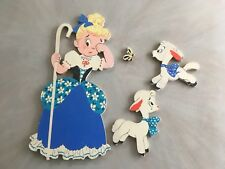"""Vintage MOTHER GOOSE PIN-UPS: 4-Piece Set """"LITTLE BO PEEP"""" THE DOLLY TOY CO"""