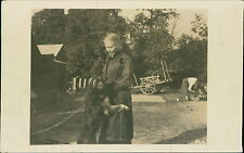 Lady & dog cart lady background motorcycle   JD1081
