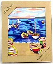 "Nautical Art Tile ""Boats on Bay"" 11x14 High Fired Ceramic Beach Wall Desk Decor"