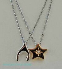 Fossil Necklace Set Wishbone & Star Best Friends Love Charms 2 n 1 Necklaces NEW