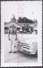 Vintage Car Photo Man & 1950 Dodge Automobile w/ Niagara Cave Sticker 662530