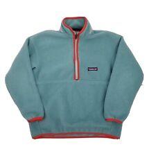 Boys Girls PATAGONIA Green Synchilla Green Orange Fleece 1/2 Zip Jacket Size 10