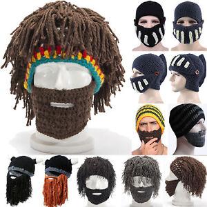 Unisex Men Funny Hat Knitting Beard Beanie Hats Mask Face Winter Snow Ski Caps