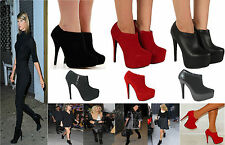 WOMENS LADIES CONCEALED PLATFORM STILETTO HEEL ZIP UP ANKLE BOOTS SHOES SIZE 3-8