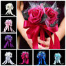 Romantic Crystal Flower Rose Bouquet Wedding Bride Bridesmaid Flower-Girl Wand /