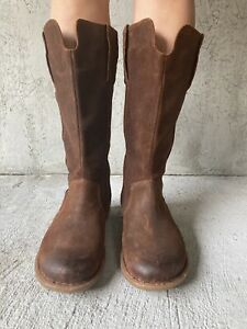 Born Crown Tiber Rustic Brown Distressed Suede Tall Boots Back Zip Size 9 M/W