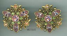 Avon Pink Ice, Peridot, and Peach Rhinestone Gold tone Baroque Clip Earrings