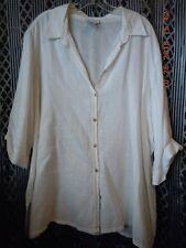 Avenue 22-24 white linen 3/4 sleeve button down tunic shirt coverup
