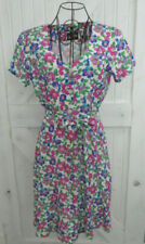 80's Vintage Hearts White Pink Blue Green Floral Ditsy Mini Dress Swing Sundress