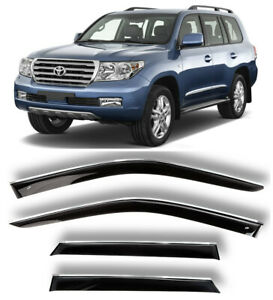 Chrome Trim Window Visors Guard Vent Deflectors Toyota Land Cruiser 200 2007-