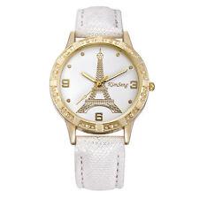 Ladies Fashion Gold Paris Eiffel Tower White Faced Quartz White Band Wrist Watch