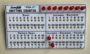 Vintage Susan Bates PEG-IT Knitting Counter - white & red plastic +instructions