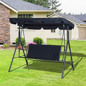 3 Seater Swing Chair Patio Hammock Porch Glider Patio w/ Canopy Black