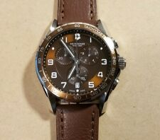 Victorinox Chrono Classic XLS Watch 45mm Brown Face & Brown Leather Band.