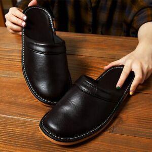 Zapatillas De Cuero Para Hombres Y Mujeres Chanclas Planos De Interior Del Hogar