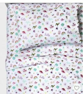 Pillowfort Doodle Darlings Pink Aqua White Multi Full 4P Sheet Set New