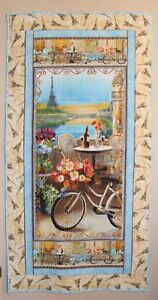 Le Cafe Paris Bicycle Flowers Handmade & Finished Wall Quilt