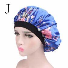 Women Wide Band Satin Bonnet Comfortable Ladies Night Sleep Hat Hair Cap Turban J