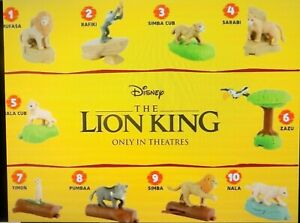 The Lion King Live Action Motion Picture McDonalds Toy Set of 10 Figures