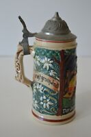 """Vintage Germany Beer Stein Lidded Pewter """"Hunter and his Damsel"""" Small 5.5"""""""