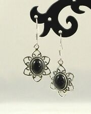 Natural Dark Blue Goldstone Earrings Handcrafted 925 Sterling Silver TCW 2.62