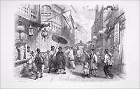 CHINE - PROMENEURS dans une rue de CANTON (Guangzhou)- Gravure du 19eme siècle