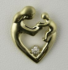 MOTHER AND CHILD PENDANT - 0.05 CARAT DIAMOND - 14K YELLOW GOLD