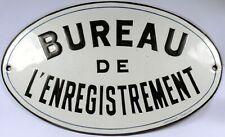 Old French enamel sign plaque plate notice register registry registration office