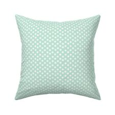 Mint Green White Polka Dots Dot Throw Pillow Cover w Optional Insert by Roostery