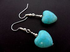 A PAIR OF TURQUOISE BLUE  SILVER PLATED DANGLY HEART  EARRINGS. NEW.