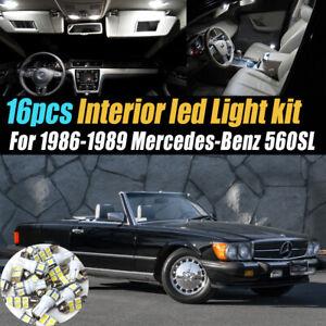 16Pc Car Interior LED White Light Bulb Kit for 1986-1989 Mercedes-Benz 560SL