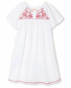 Girls' Happy by Pink Chicken Cotton Embroidered Button Smock Dress - White (6Y)