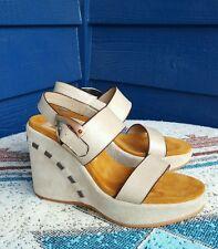 DONALD PLINER Sport-i-que KERRY 'Natural' leather Wedge Heel Sandals Womens 6.5