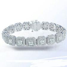Princess Tennis Bracelet Halo White Solid Sterling Silver 925 Custom Size New