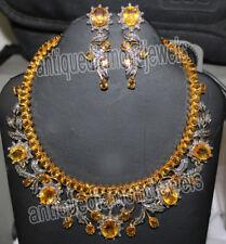 11.30ct Rose Cut Diamond  Yellow Topaz  925 Silver Anniversary Necklace Set