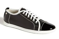 NEW $300 Attilio Giusti Leombruni Resort Sneakers Black Leather Patent Cap 36  6