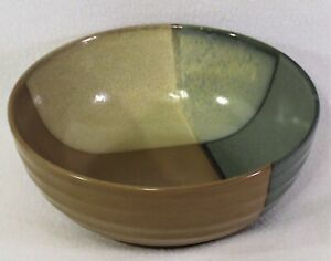 """Sango Discontinued Gold Dust Green #5040 Round Vegetable Serving Bowl 9-1/4"""""""